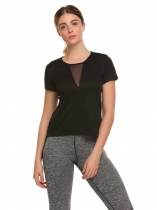 Black Mesh Patchwork Quick Dry Sport T-Shirt