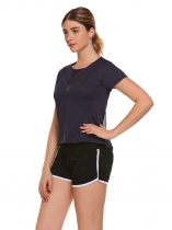 Dark blue Mesh Patchwork Quick Dry Sport T-Shirt