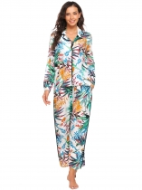 Green Long Sleeve Prints Elastic Waist Soft Pajamas Set