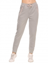 Grey Elastic Waist Drawstring Solid Pants with Pockets