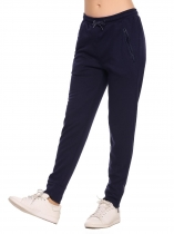 Navy blue Elastic Waist Drawstring Solid Pants with Pockets
