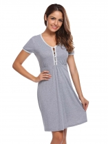 Grey V-Neck Short Sleeve Lace-Trimmed Button Nighties Sleepwear