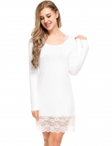 White Womens à manches longues en pyjama Lace Patchwork O Neck Nightgown Sleepwear Split Hem Dress