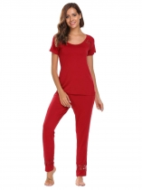 Wine red Lace O-Neck Short Sleeve Tops with Elastic Waist Pants Pajama Sets