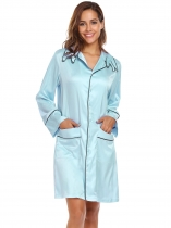 Light blue Long Sleeve Satin Nightdress with Pockets