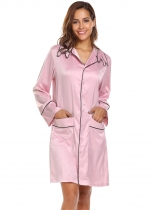 Light pink Femmes Casual Turn-down Cat Head Shape Collar Robes à manches longues Satin Nightdress