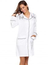 White Long Sleeve Satin Nightdress with Pockets