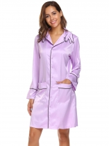 Purple Long Sleeve Satin Nightdress with Pockets