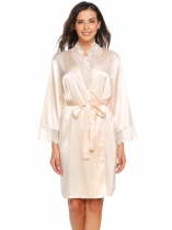 Beige Lace Patchwork Kimono Satin Robes with Belt