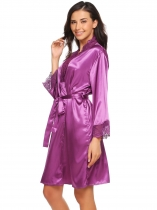 Purple Femmes V-Neck Lace Patchwork Kimono Robes Satin Nightdress Sleepware Robe avec ceinture