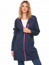 Dark blue Hooded Long Sleeve Front Zipper Solid Coat