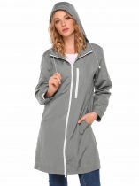 Grey Hooded Long Sleeve Front Zipper Solid Coat