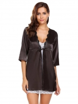 Black Women Half Sleeve Lace-trimmed Sleepwear Robe with Belt