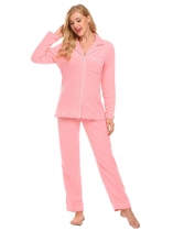 Rose red Women Nightwear Long Sleeve Soft Fleece Pajama Set with Pj Sleepwear