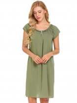 Army green Women Short Sleeve Sleepwear Ruffles Lounge Dress Solid Loose Chiffon Nightgown