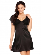 Black Spaghetti Strap Sleeveless Lace Patchwork Nighties Sleepwear