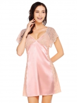 Pink Spaghetti Strap Sleeveless Lace Patchwork Nighties Sleepwear