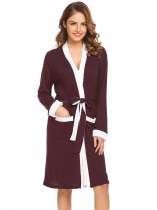 Wine red Women Sleepwear Long Sleeve Patchwork Kimono Bathrobe Spa Robe