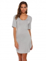 Gray V-Neck Short Sleeve Solid Nighties Sleepwear