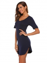 Navy blue V-Neck Short Sleeve Solid Nighties Sleepwear