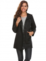 Black Long Sleeve Hooded Solid Loose Wind Coat