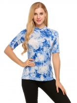 Blue Tie Dye O-Neck Short Sleeve Contrast Color Tops