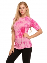 Pink Tie Dye O-Neck Short Sleeve Contrast Color Tops