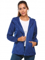 Royal Blue Hooded Long Sleeve Solid Waterproof Coat