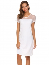 White Women Short Sleeve Nightgown Loose Sleeping Dress