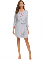 Gray Women Soft 3/4 Sleeve Contrast Color Trim Kimono Robe