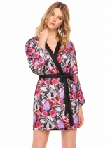Manteau à manches longues pour femmes Tie Up Floral Print Casual Kimono Robes with Belt