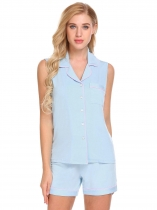Bleu ciel Femmes Pyjama Set Soft Comfort Sleeveless Pyjamas Shorts