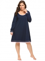 Dark blue Women's Long Sleeve Patchwork Casual Loose Nightgown Sleep Shirt Plus Size