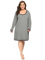Gray Women's Long Sleeve Patchwork Casual Loose Nightgown Sleep Shirt Plus Size