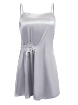 Grey Women Sexy Lingerie Satin Chemise Nightgown Lace Slip Sleepwear