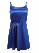 Royal Blue Women Sexy Lingerie Satin Chemise Nightgown Lace Slip Sleepwear