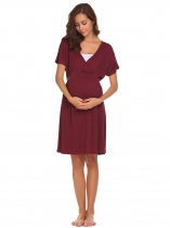 Wine red V-Neck Batwing Sleeve Solid Belted Maternity & Nursing Nightgown Sleepwear
