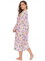Pink Plus Size Round Neck Long Sleeve Print Loose Nightgown