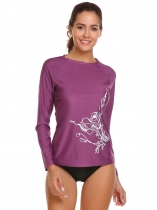 Purple Mujeres de manga larga O cuello impresión Slim Outdoor Sunscreen Swimwear T-Shirt secado rápido Athletic Tops