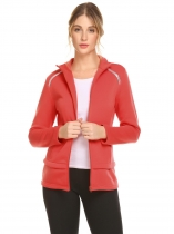 Orange red Women Casual O-Neck Long Sleeve Zipper Sport Jacket