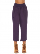 Dark purple Women Solid Loose Hem Drawstring Side Ruched Sport Pants Trousers With Pocket
