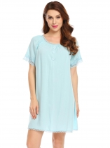 Light blue Women Sleepwear Short Sleeve Ruched O-Neck Lace Trim Nightgown