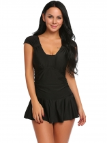 Black Solid Ruched Padded Skirted One Piece Swimsuit