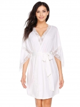 White 3/4 Sleeve Lace-Trimmed Sleepwear Robe with Belt