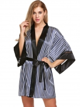 Navy blue Womens 3/4 Lace Sleeve Striped Patchwork Contrast Color Satin Robe With Belt
