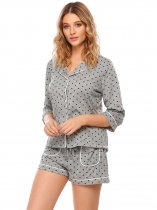 Grey Dot Print Button Elastic Waist Pajama Set