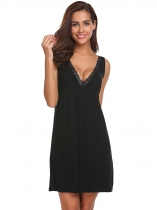 Black V-Neck Sleeveless Lace-Trimmed Nighties Sleepwear Dress