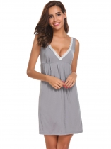 Gray V-Neck Sleeveless Lace-Trimmed Nighties Sleepwear Dress