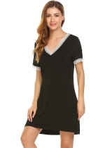 Black Women V-Neck Short Sleeve Nightgown Lounge Dress Sleepwear