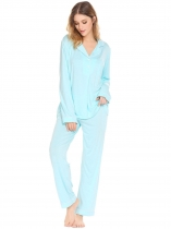 Light blue Long Sleeve Button-Down Shirt and Pants Women Pajamas Set